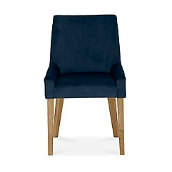 Debenhams - Pair of linen dark blue 'Ella' upholstered tub dining chairs with light wood legs