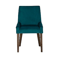 Debenhams - Pair of linen teal 'Ella' upholstered tub dining chairs with dark wood legs