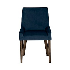 Debenhams - Pair of linen dark blue 'Ella' upholstered tub dining chairs with dark wood legs