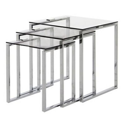 Debenhams chrome and glass alberta nest of 3 tables debenhams watchthetrailerfo