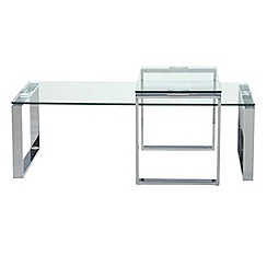 Debenhams - Chrome and glass 'Alberta' coffee and side table set