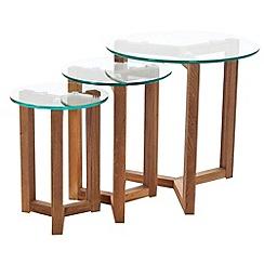 Debenhams - Oak and glass 'Tokyo' nest of 3 tables