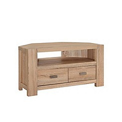 Debenhams - Washed white oak effect 'Cleves' corner TV unit