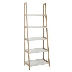 Debenhams - Bamboo and white 'Westwood' tall open shelving unit