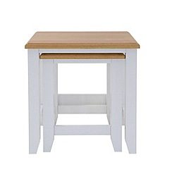 Debenhams - Oak effect and white 'Georgia' nest of 2 tables