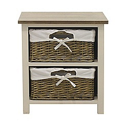 Debenhams - Soft white and wicker 'Cotswold' 2 drawer chest