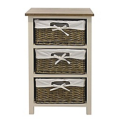 Debenhams - Soft white and wicker 'Cotswold' 3 drawer chest