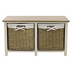 Debenhams - Soft white and wicker 'Cotswold' 2 drawer bench