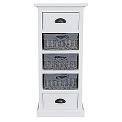 Debenhams - White and grey wicker 'Sandringham' 5 drawer chest
