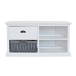 Debenhams - White and grey wicker 'Sandringham' corner TV unit