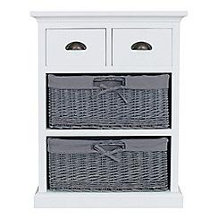 Debenhams - White and grey wicker 'Sandringham' 4 drawer chest
