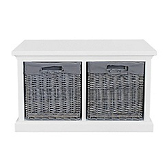 Debenhams - White and grey wicker 'Sandringham' 2 drawer chest