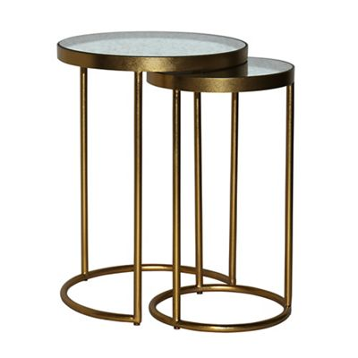 Debenhams Antique Mirror Top Glamour Round Nest Of 2 Tables