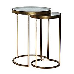 Debenhams - Antique mirror top 'Glamour' round nest of 2 tables