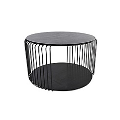 Debenhams - Black wire cage oak round coffee table
