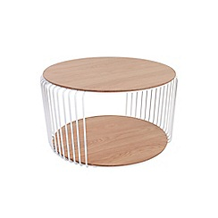 Debenhams - White wire cage natural oak round coffee table