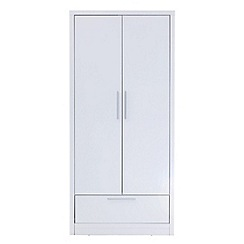 Debenhams - White gloss 'Maxi' double wardrobe with drawer