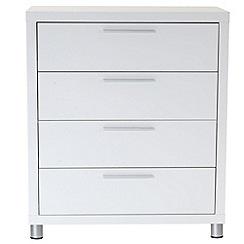 Debenhams - White gloss 'Maxi' 4 drawer chest