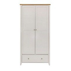 Debenhams - Oak effect and white 'Georgia' double wardrobe with drawer