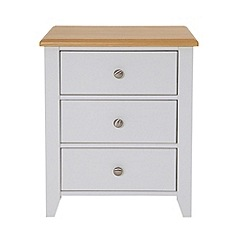 Debenhams - Oak effect and white 'Georgia' bedside cabinet with 3 drawers