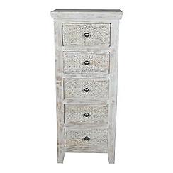 Debenhams - Mango wood 'Ashoka' tall 5 drawer chest