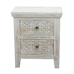 Debenhams - Mango wood 'Ashoka' bedside cabinet with 2 drawers