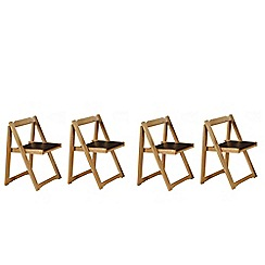 Debenhams - Set of 4 oak effect 'Stowaway' chairs