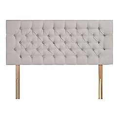 Sleepeezee - Light grey plush velvet 'Button' headboard