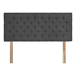 Sleepeezee - Dark grey plush velvet 'Button' headboard