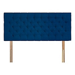 Sleepeezee - Navy plush velvet 'Button' headboard