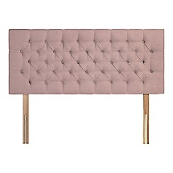 Sleepeezee - Light pink plush velvet 'Button' headboard