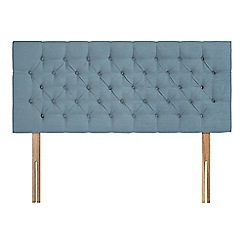 Sleepeezee - Light blue plush velvet 'Button' headboard
