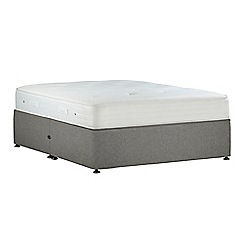 Debenhams - Light grey 'Studio Pocket Memory' flat weave no storage divan bed with mattress