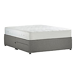 Debenhams - Light grey 'Studio Pocket Ortho' flat weave divan bed with mattress and 2 drawers