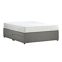 Debenhams - Light grey 'Studio Basics' flat weave divan bed with mattress and 2 drawers