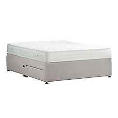 Debenhams - Light grey 'Studio Basics' plush velvet divan bed with mattress and 2 drawers