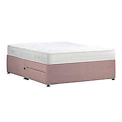 Debenhams - Light pink 'Studio Basics' plush velvet divan bed with mattress and 2 drawers