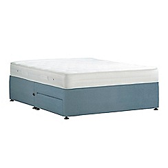 Debenhams - Light blue 'Studio Basics' plush velvet divan bed with mattress and 2 drawers