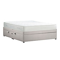 Debenhams - Light grey 'Studio Basics' plush velvet side ottoman divan bed with mattress