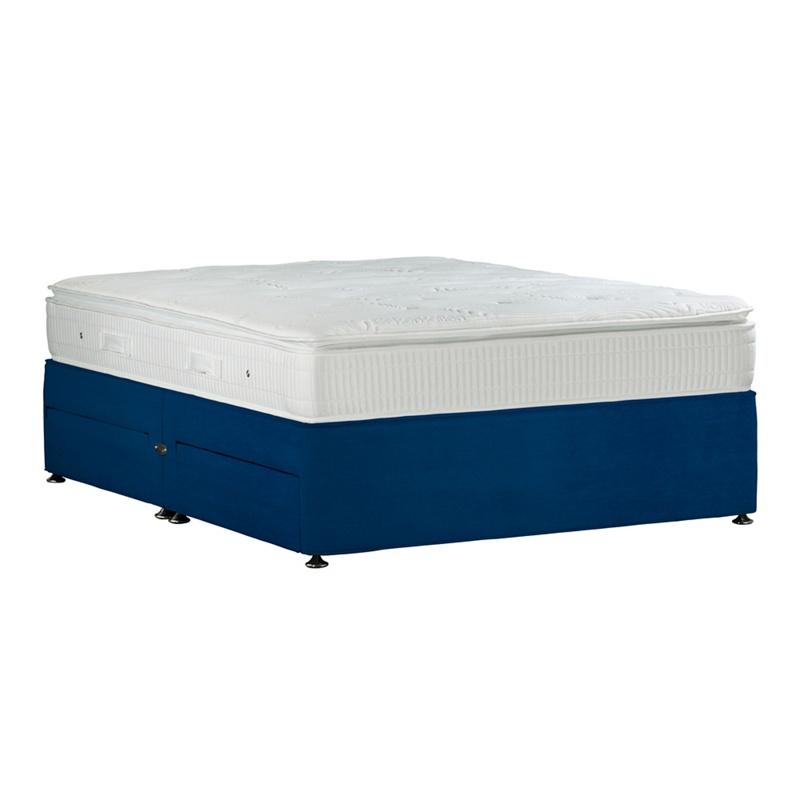 Sleepeezee navy 39 gel sensation gold 39 plush velvet divan for Divan bed offers