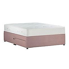 Sleepeezee - Light pink 'Lasting Memories Bronze' plush velvet divan bed with mattress and 2 drawers