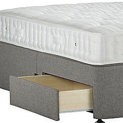 Sleepeezee - Light grey 'Perfectly Ortho Bronze' flat weave divan bed with mattress and 2 drawers