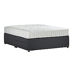Sleepeezee - Dark grey 'Perfectly Ortho Bronze' flat weave divan bed with mattress and 2 drawers