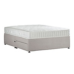 Sleepeezee - Light grey 'Perfectly Ortho Bronze' plush velvet divan bed with mattress and 2 drawers