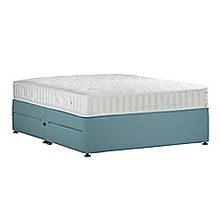 Sleepeezee - Light blue 'Perfectly Ortho Bronze' flat weave divan bed with mattress and 4 drawers