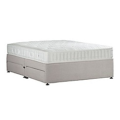 Sleepeezee - Light grey 'Perfectly Ortho Bronze' plush velvet divan bed with mattress and 4 drawers