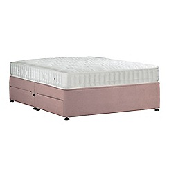 Sleepeezee - Light pink 'Perfectly Ortho Bronze' plush velvet divan bed with mattress and 4 drawers
