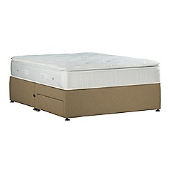 Sleepeezee - Camel 'Gel Sensation Silver' flat weave divan bed with mattress and 2 drawers