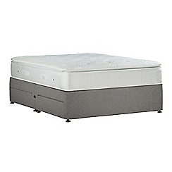 Sleepeezee - Light grey 'Gel Sensation Silver' flat weave divan bed with mattress and 4 drawers