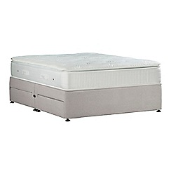 Sleepeezee - Light grey 'Gel Sensation Silver' plush velvet divan bed with mattress and 4 drawers